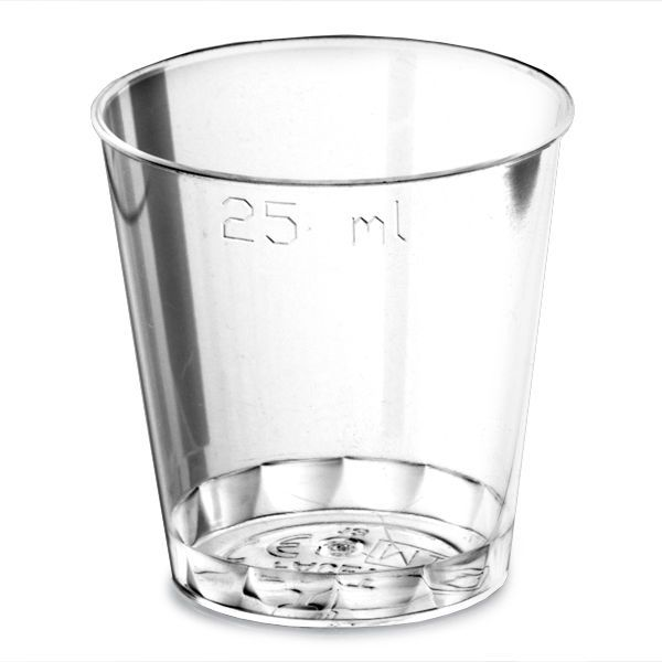 25ml To Brim Plastic Shot Glasses