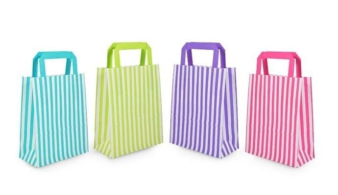 Striped Flat Handled Carrier Bags