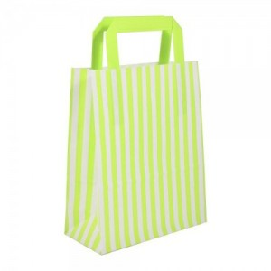 Green Striped Flat Handled Paper Bags