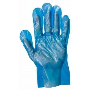 Disposable Food Safe Textured Blue PE Plastic Polythene Gloves